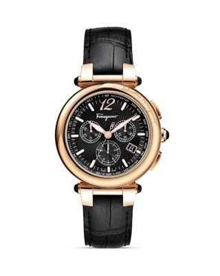 Salvatore Ferragamo Idillio Gold Ion-plated Chronograph Watch, 41mm In Black
