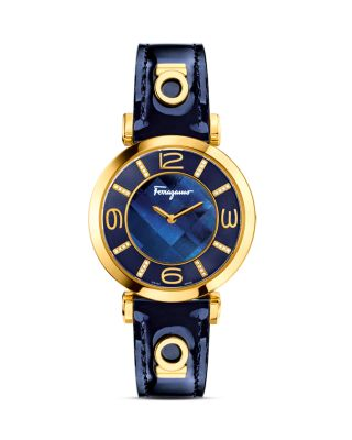 Salvatore Ferragamo Gancino Deco Gold Ion Plated Stainless Steel Watch, 39mm In Navy
