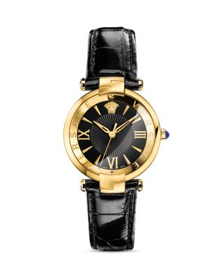 Versace Revive 3h Black And Pvd Gold Plated Women's Watch W/croco Embossed Band In Black/gold