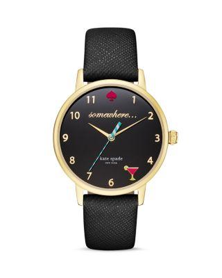Kate Spade New York Women's Metro Black Leather Strap Watch 34mm Ksw1039