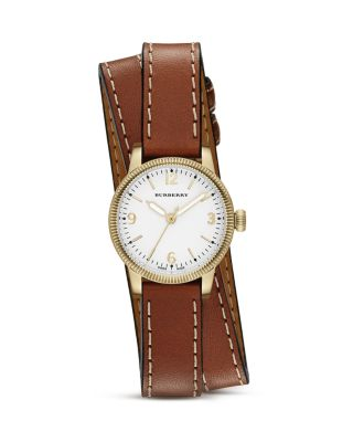 Burberry Utilitarian Goldtone Stainless Steel & Leather Double-wrap Watch In Brown