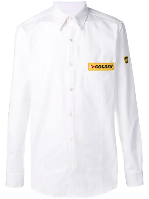 Golden Goose Logo Patch Shirt In White