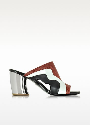 Proenza Schouler Woman Cutout Matte, Patent And Textured-leather Mules Black