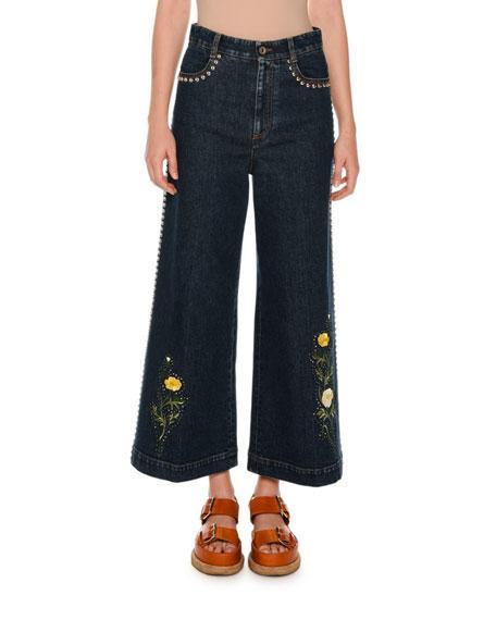 Stella Mccartney Nashville Studded Floral Culotte Jeans, Multicolor