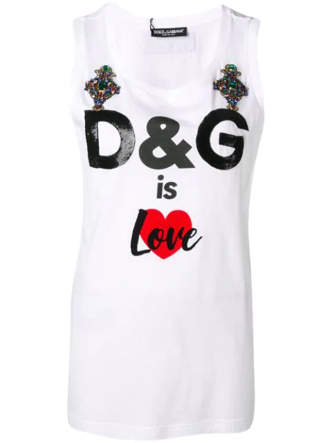 Dolce & Gabbana Embroidered Cotton T-Shirt In White
