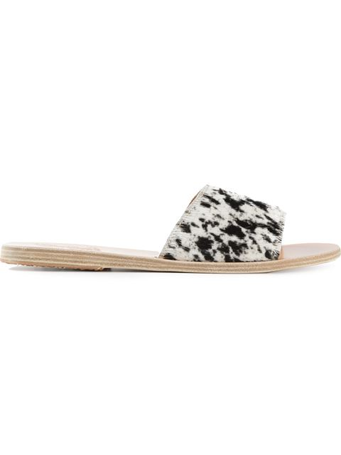Ancient Greek Sandals Taygete Calf-Hair Sandal Slide, Black/White In Blue Pattern