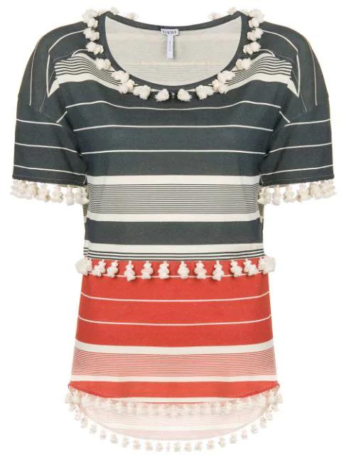Loewe Striped Pompom T-shirt In Grey