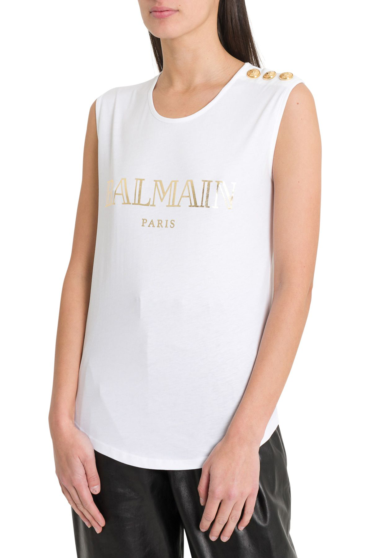15345b016fd Balmain Logo Sleeveless Tee In Bianco | ModeSens