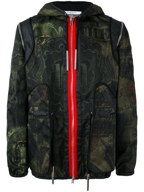 Givenchy Camo Money-print Hooded Short Parka Jacket, Khaki In Green
