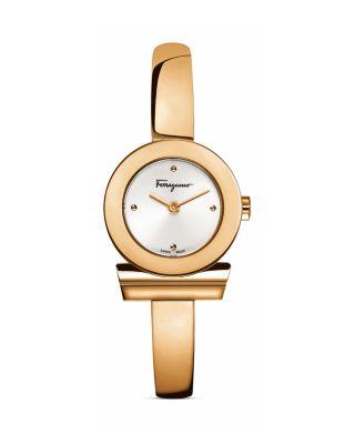 Salvatore Ferragamo Gancino Stainless Steel Bracelet Watch, 22.5mm In Rose Gold