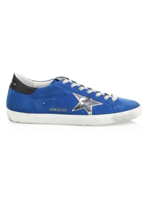 Golden Goose Men's Electric Superstar Leather Sneakers In Blue Electric Silver