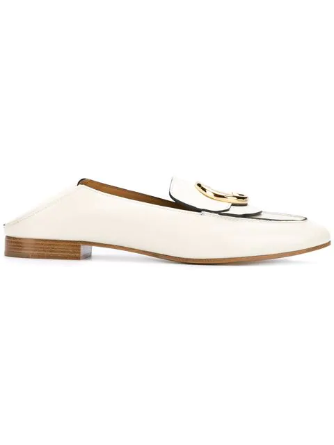 ChloÉ Collapsible-Heel Leather Loafers In White