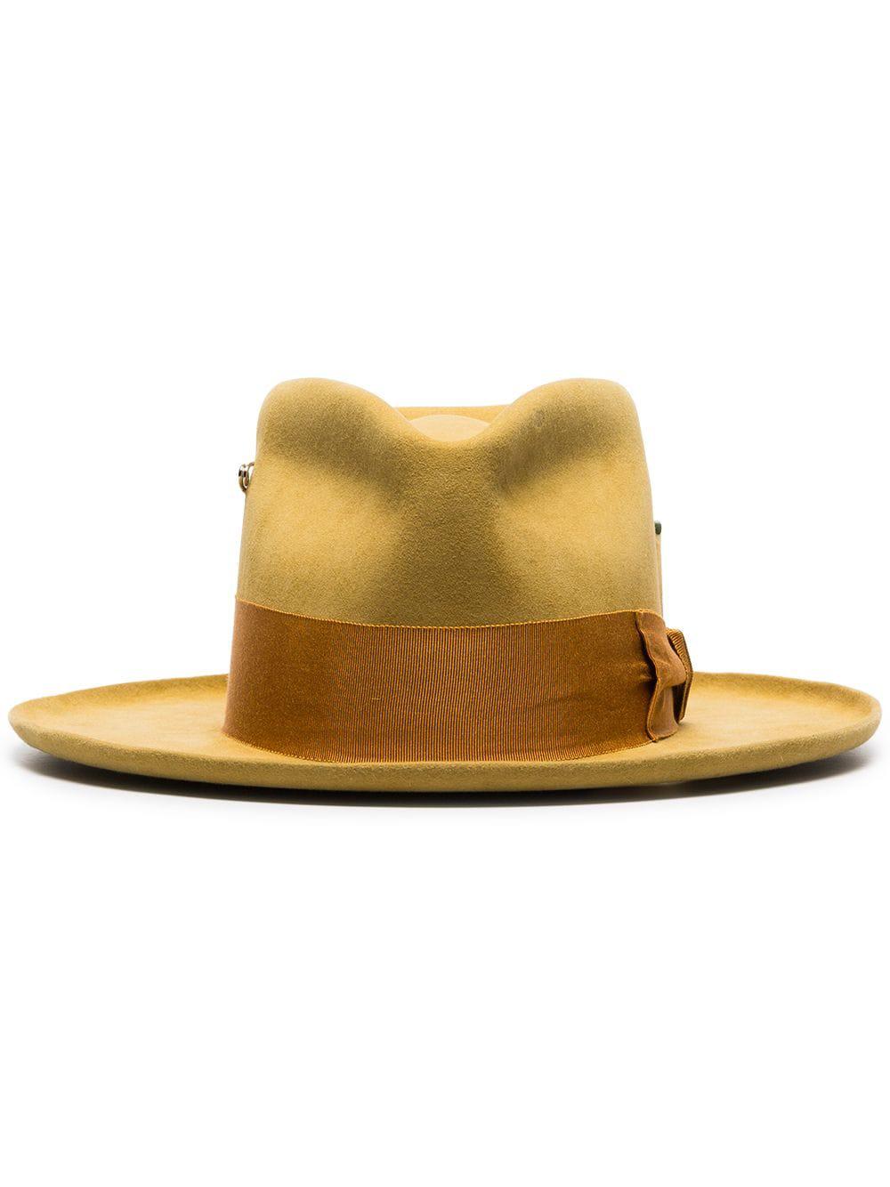 85696bfb Nick Fouquet Yellow Oasis Zain Beaver Fur Fedora Hat | ModeSens