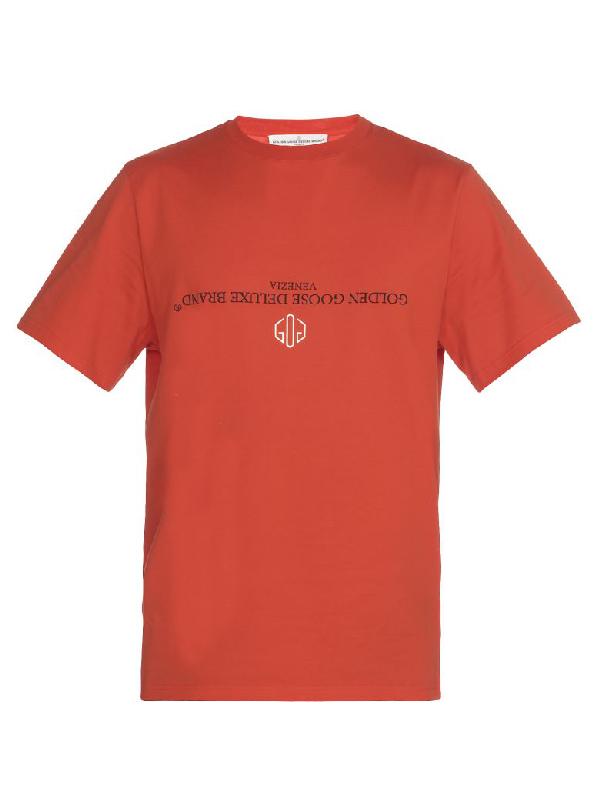 Golden Goose Cotton T-Shirt In Dark Orange