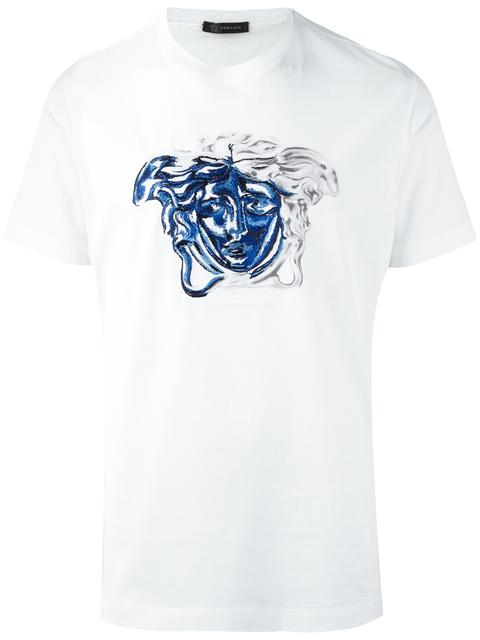 Versace Medusa Contrast Embroidery T-shirt In White