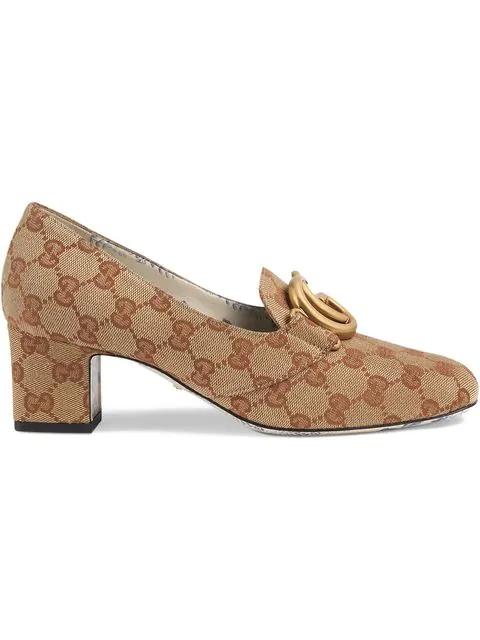 Gucci Original Gg Canvas Block-Heel Loafer Pumps In Neutrals