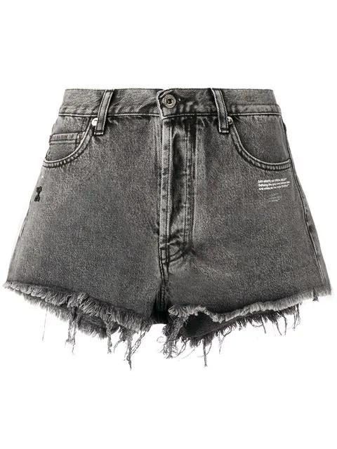 Off-White Arrow Patch Raw Cut Cotton Denim Shorts In Grey