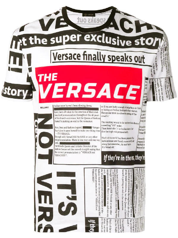 99e2c48cb Versace All Over Tabloid Printed Jersey T-Shirt In White | ModeSens