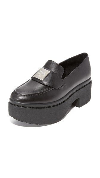 Opening Ceremony Agness Platform Leather Loafers In Black