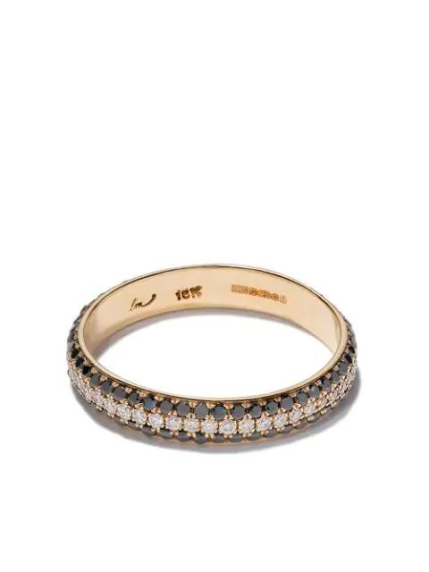 Lizzie Mandler Fine Jewelry 18kt Yellow Gold Three Row Pave Cigar Diamond Band