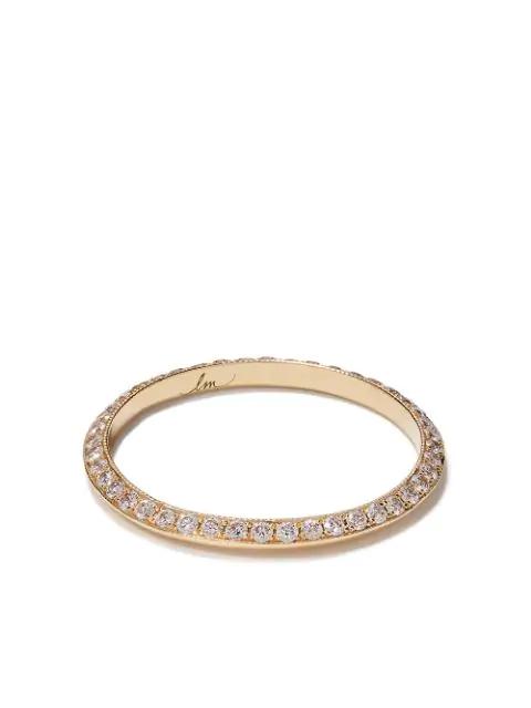 Lizzie Mandler Fine Jewelry 18kt Yellow Gold Diamond Pave Petit Knife Edge Band