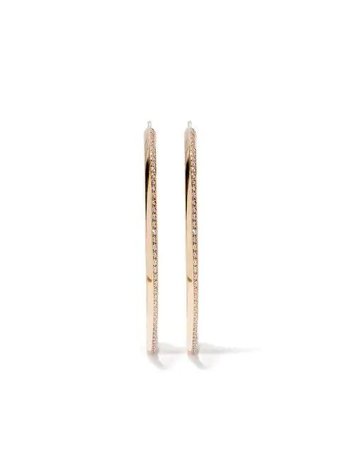 Lizzie Mandler Fine Jewelry 18kt Yellow Gold Diamond Knife Edge Hoops