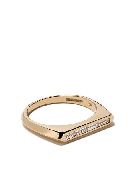 Lizzie Mandler Fine Jewelry 18kt Yellow Gold Diamond Baguette Knife Edge Band