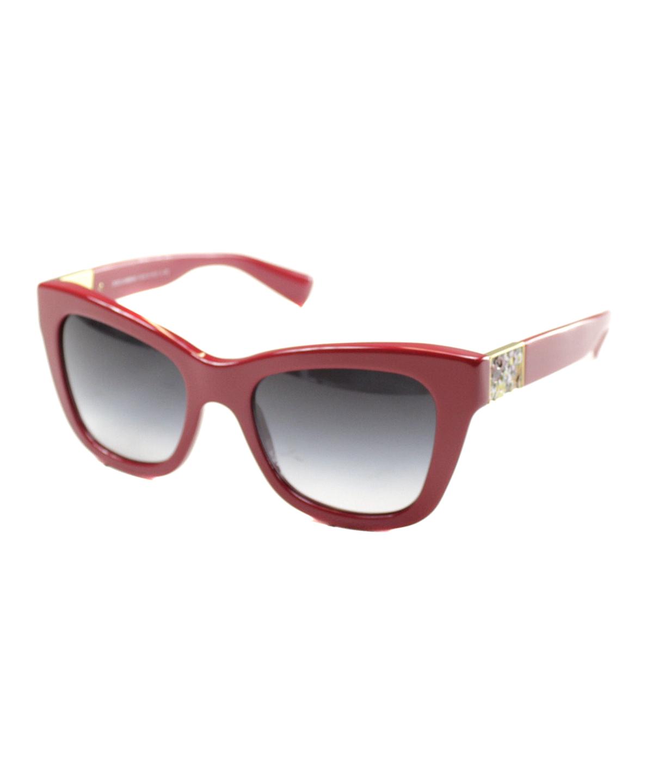 Celine Cathrine Small Square Plastic Sunglasses In Burgundy Havana