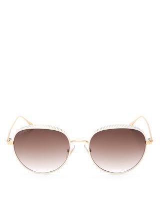 Jimmy Choo Ello Round Sunglasses, 55mm In White Gold/brown Gradient