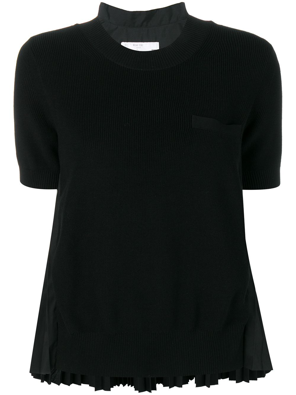 Sacai Pleated Back Knitted Top In Black