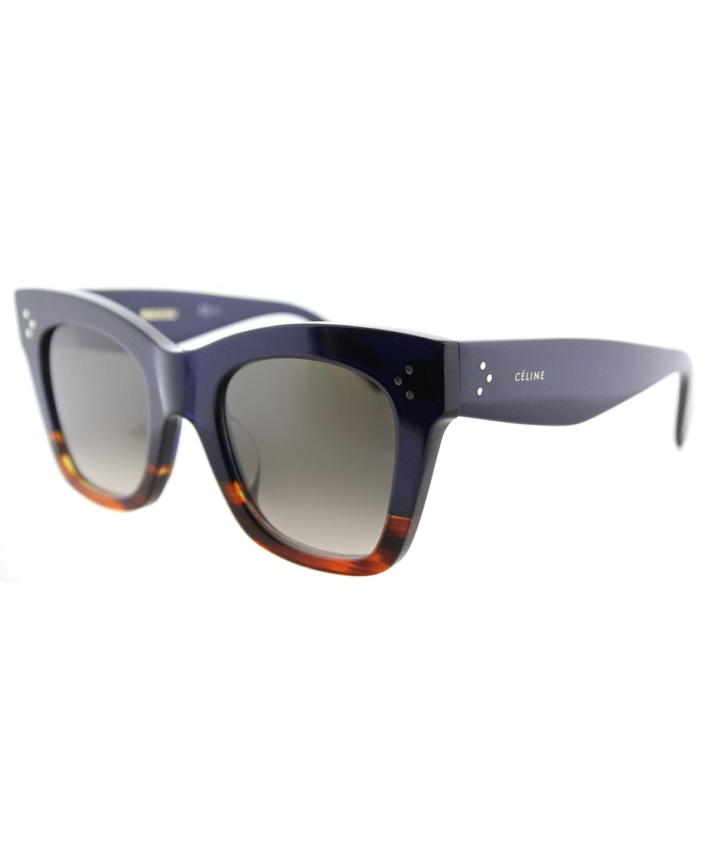 Celine Cathrine Small Square Plastic Sunglasses In Blue Brown