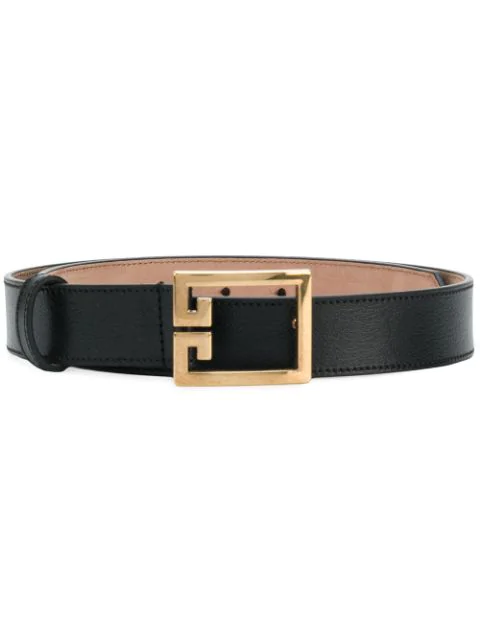 Givenchy Gv3 Buckle Croc Embossed Calfskin Skinny Belt In 001 Black