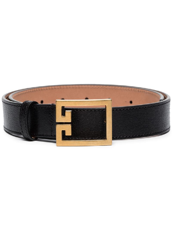 Givenchy Gv3 Buckle Croc Embossed Calfskin Skinny Belt In 001 Black