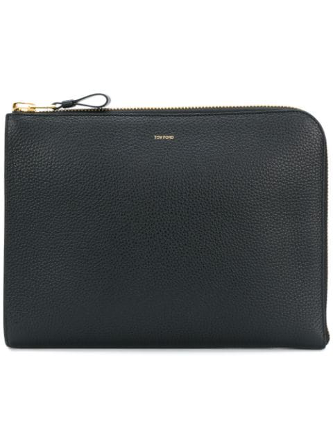 Tom Ford Leather Zip-around Portfolio In Black