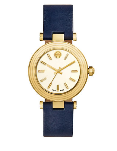 Tory Burch Classic T Stainless Steel Watch, Navy/golden In Blue