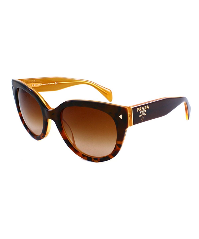 Prada Cat-eye Plastic Sunglasses In Dark Havana On Opal Yellow