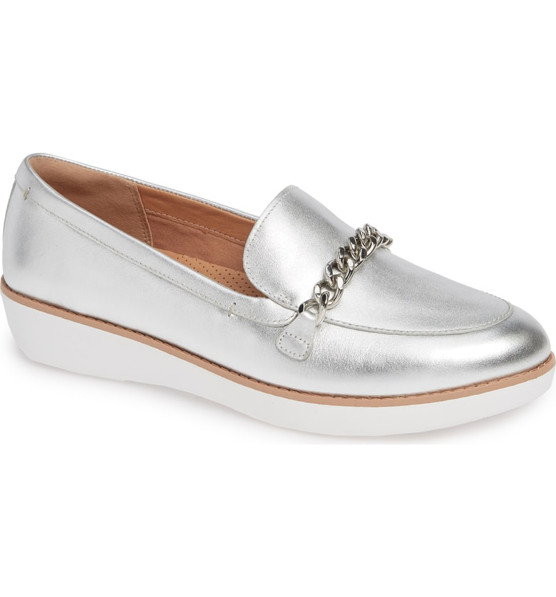 73cc1f71dd093b Fitflop Petrina Chain Loafer In Silver Leather