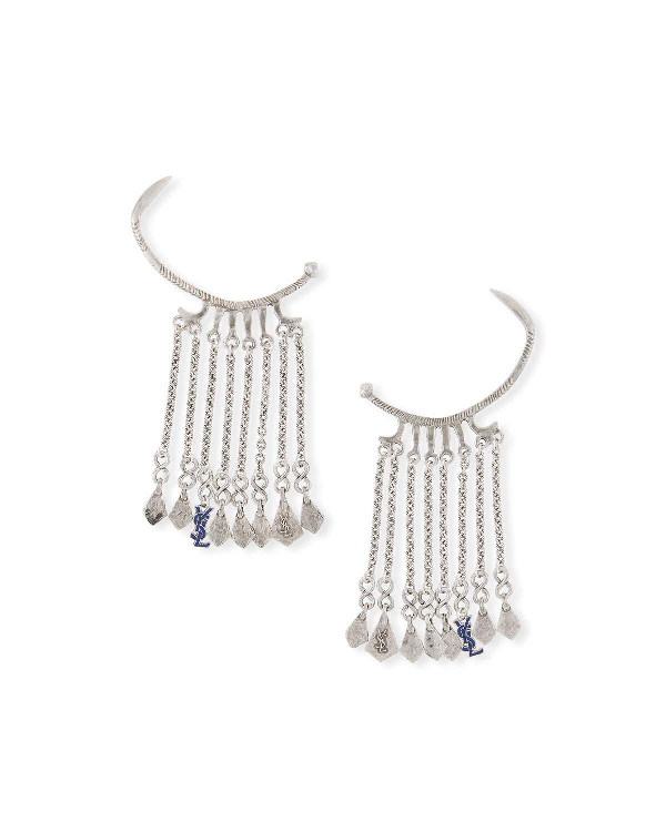 744a929b936 Saint Laurent Marrakech Dangle Ear Cuffs In Gray Pattern | ModeSens