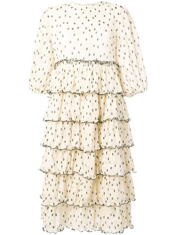2b6c21ef Ganni Dot-Print Plisse Blouson-Sleeve Tiered Midi Dress, White In Neutrals