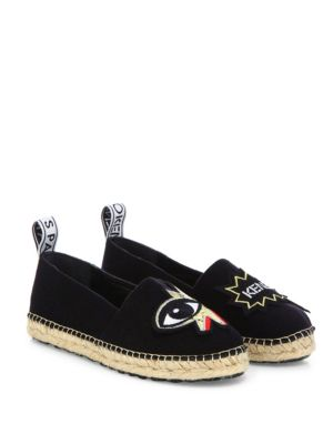 Kenzo Technical Grip-tape Eye Espadrille Flats In Black