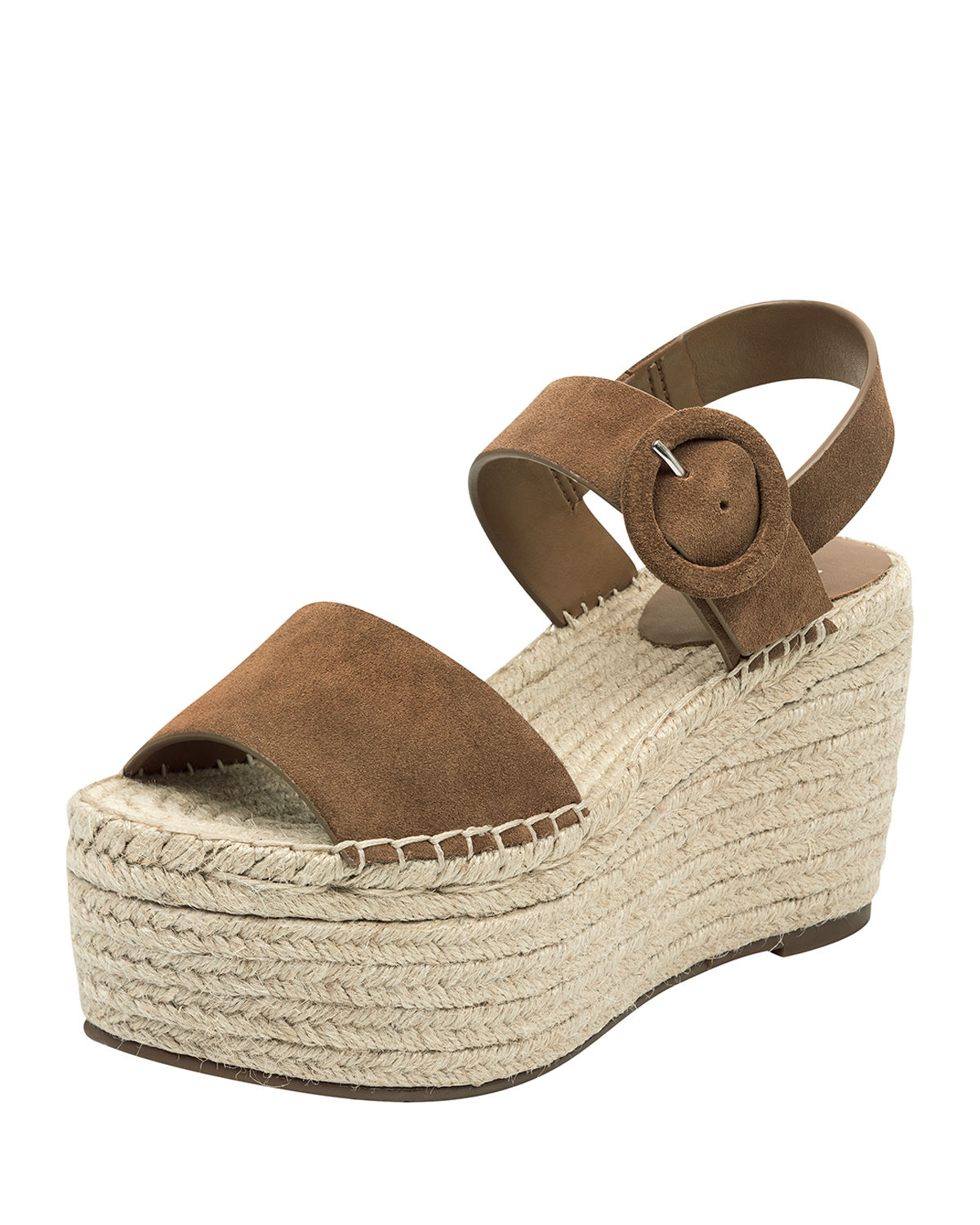 2f6088ce2 Marc Fisher Rex Suede Wedge Sandals In Dk Natural Cognac