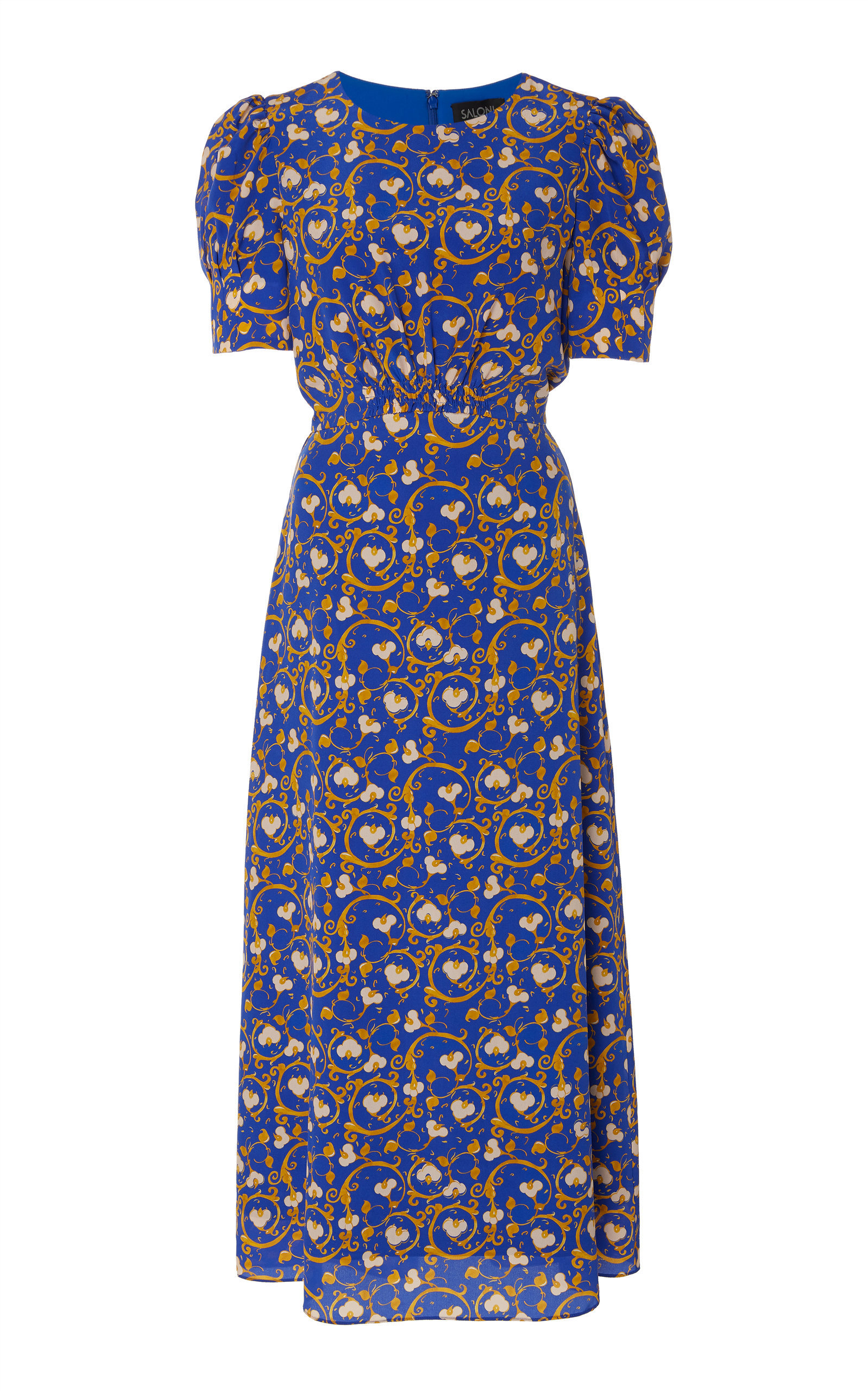 91a4d5b1053 Saloni Bianca Baroque-Print Silk Midi Dress In Blue