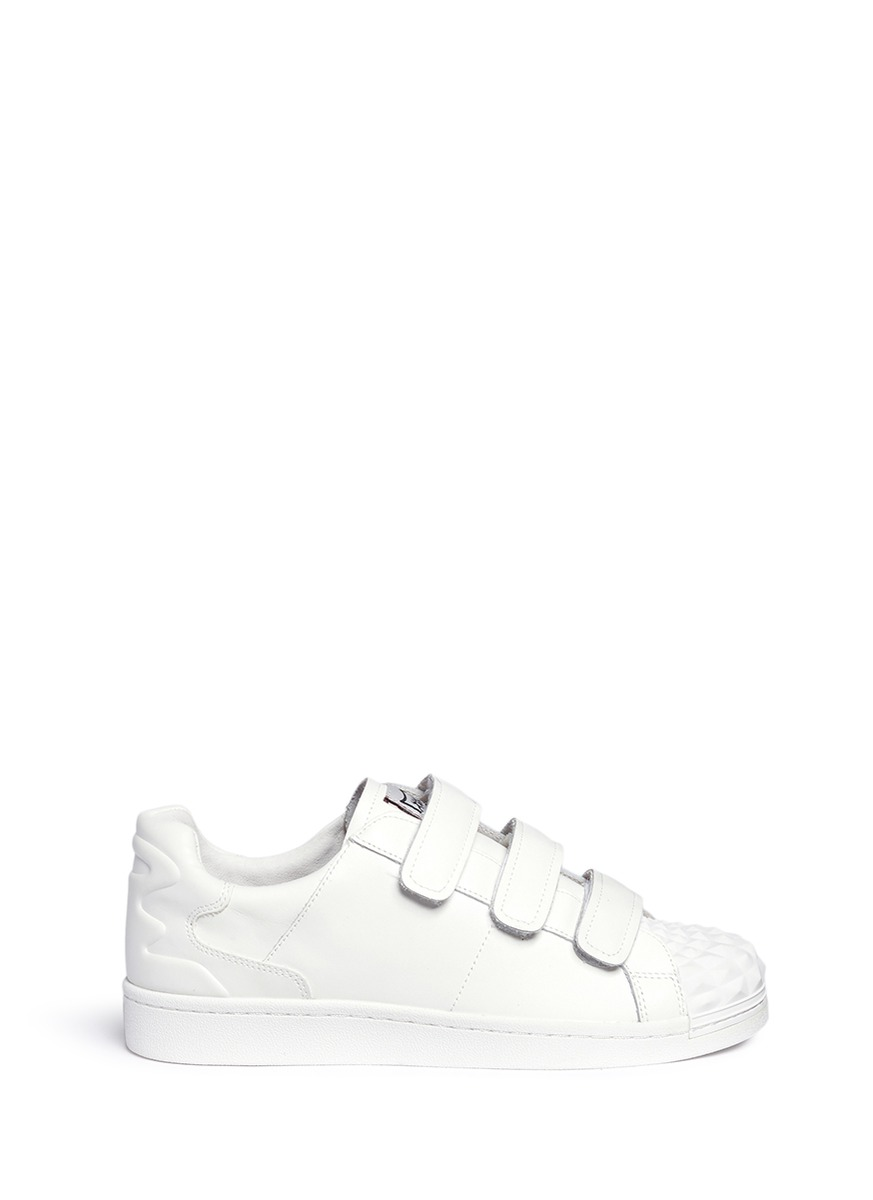 Ash 'club' Rubber Prism Leather Sneakers In White
