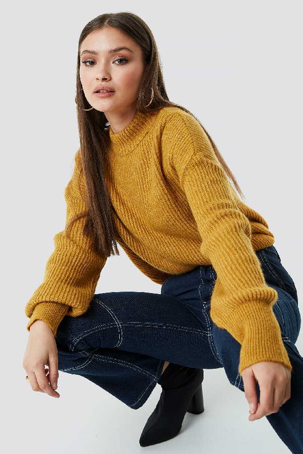 ChloÉ B X Na-kd High Neck Knitted Sweater Yellow