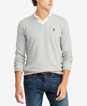 Polo Ralph Lauren Men's Cotton V-Neck Sweater In Andover Heather