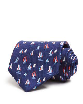 Salvatore Ferragamo Sailboat-print Silk Tie In Navy