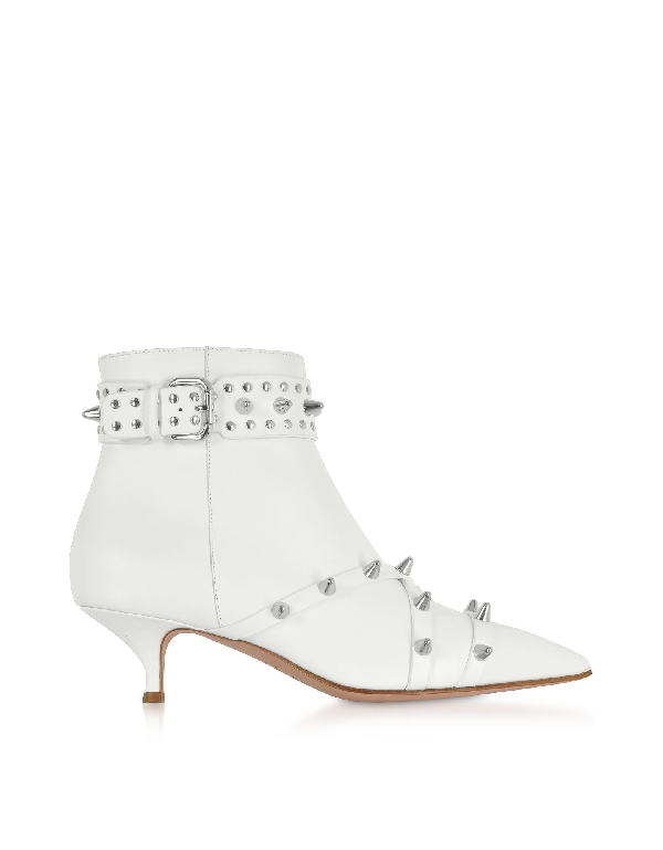 Red Valentino Milk Leather Mid-Heel Ankle Boots In White