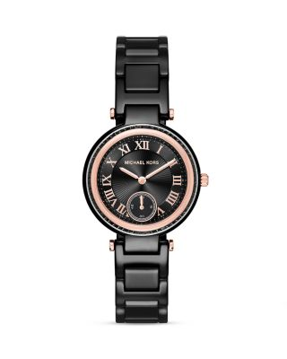 Michael Kors Skylar Mini Rose Goldtone Stainless Steel & Ceramic Bracelet Watch In Black