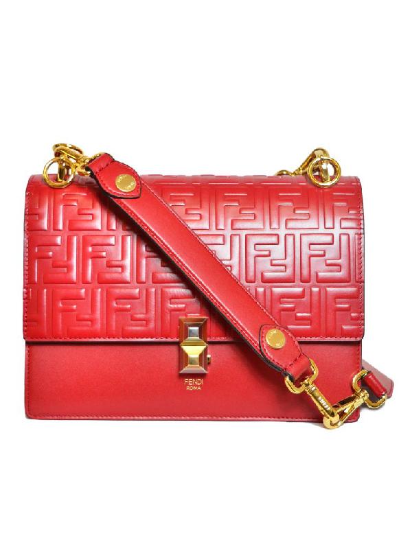 Fendi Embossed Double F Logo Shoulder Bag In Mvv Strowberry Gold Soft