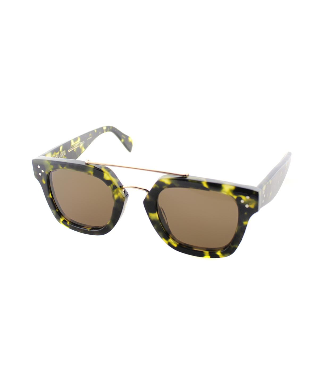 Celine Square Plastic Sunglasses In Green Havana